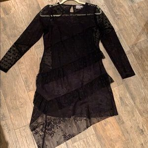 ASOS Black Sheer Embroidered Dress